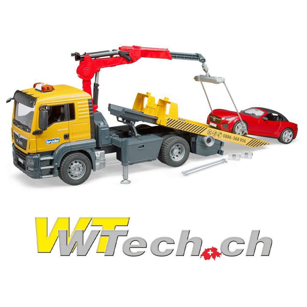 7bf9d05318d2f9 03750 MAN TGS Abschlepp-LKW mit Bruder Roadster, Bruder Spielzeug auf  WTech.ch, Onlineshop für Spielzeuge und Modelle
